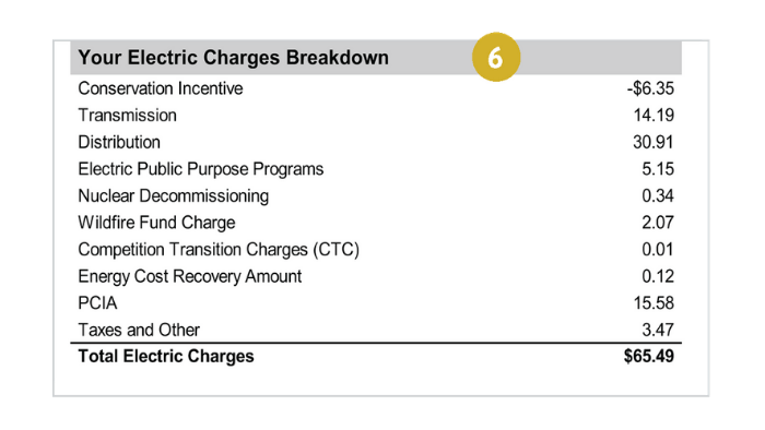 Electricity charges on bill (item 6)